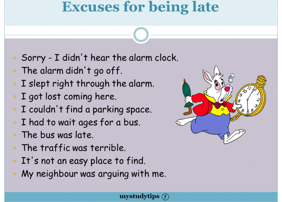 Funny Excuses For Being Late